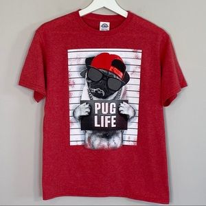 Pug Life Youth Large or Adult Small Red Tee